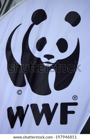 "CIRCA MAY 2014 - BERLIN: the logo of the non governmental organization ""WWF - World Wide Fund for Nature"", Berlin. - stock photo"