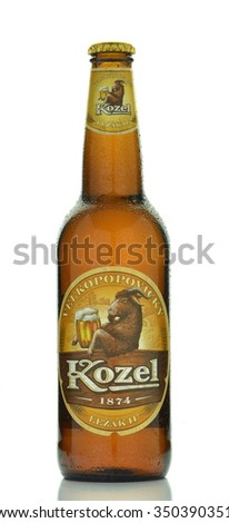 CIRCA NOVEMBER 2015 - GDANSK: Velkopopovicky Kozel beer isolated on white background. Kozel beer has been brewed in Velke Popovice in Czech Republic since 1874.