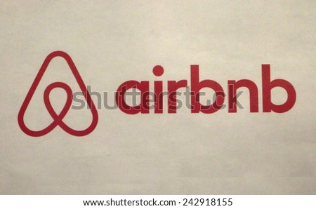 """CIRCA OCTOBER 2014 - BERLIN: the logo of the brand """"airbnb"""", Berlin. - stock photo"""