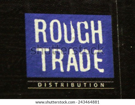 "CIRCA OCTOBER 2014 - BERLIN: the logo of the brand ""Rough Trade"", Berlin."
