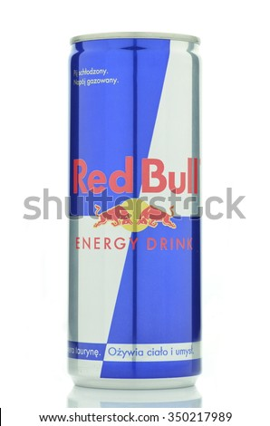 CIRCA OCTOBER 2015 - GDANSK: Red Bull energy drink isolated on white background. Red Bull is sold by Austrian company Red Bull GmbH and was created in 1987.