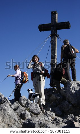 CIRCA OCTOBER 2010 - JENNER: the summit cross on top of the Jenner mountain in the Bavarian Alps near Berchtesgaden, Germany.