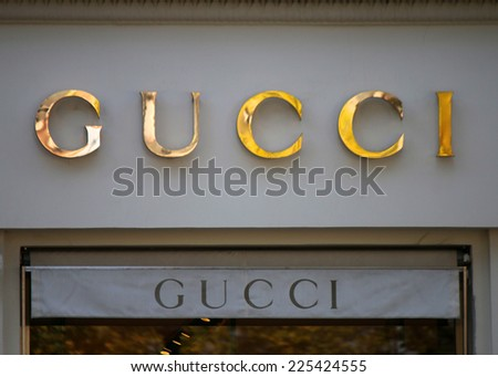 "CIRCA SEPTEMBER 2014 - BERLIN: the logo of the brand ""Gucci"", Berlin."