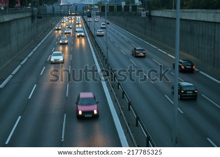"CIRCA SEPTEMBER 2014 - BERLIN: traffic on the ""Stadtautobahn"" (city highway) of the German capital Berlin."