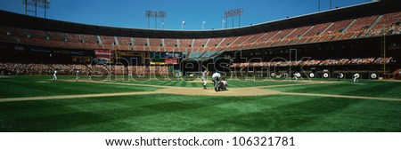 CIRCA 1999 - This is 3Com Stadium. It was formerly known as Candlestick Park. The San Francisco Giants are playing. - stock photo