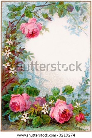 circa 1890 vintage rose border, background - illustration - stock photo