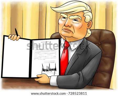 CIRCA 2017 - WASHINGTON, DC: A caricature illustration of President Donald Trump in the Oval Office holding up a document he's just signed.