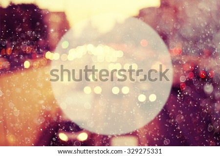 Circle background blur bokeh cars city road snow - stock photo