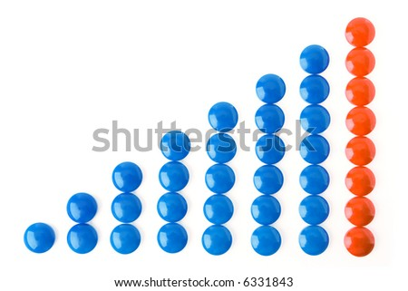circle business graph blue and red over white background