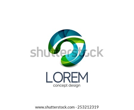 Circle business logo, target, location concept. Made of color flowing overlapping shapes - stock photo