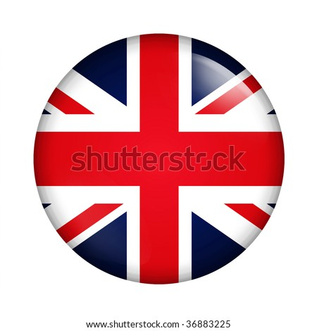 Circle button flag of UK - stock photo