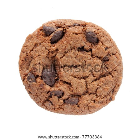circle chocolate cookie isolated on white background - stock photo