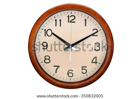 Circle clock wooden frame, 10 O clock - stock photo