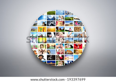 Circle design element made of pictures, photographs of people, animals and places. Conceptual background