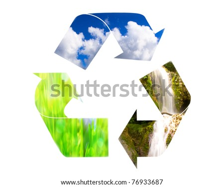 circle ecology conceptual image; eco collage - stock photo