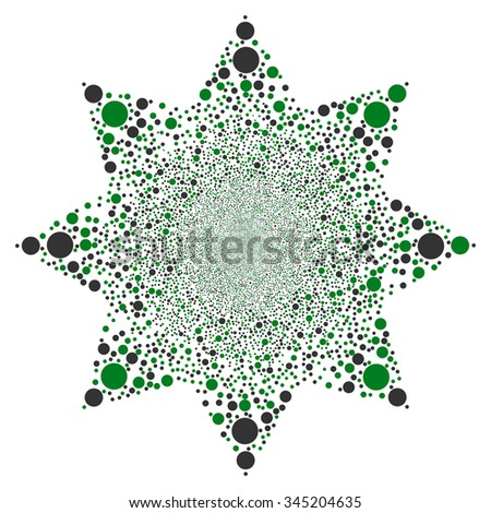 Circle Fireworks Flower glyph illustration. Style is green and gray bicolor flat circles, white background.