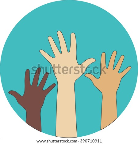 Circle flat icon. Hands raised up. Concept of volunteerism, multi-ethnicity, equality, racial and social issues.