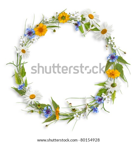 Circle frame from colorful summer flowers - stock photo