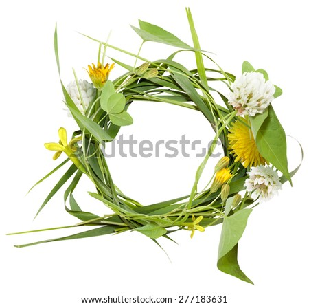Circle frame from grass and spring flowers without shadow - stock photo