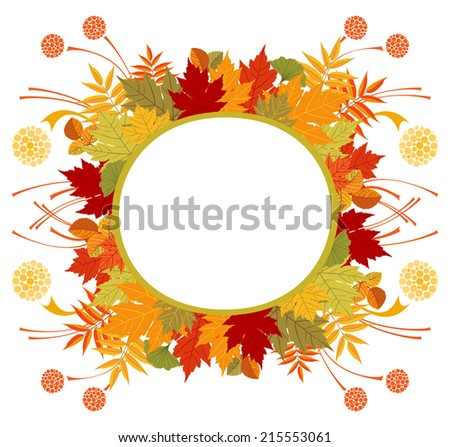 Circle frame with Autumn leaves. Raster illustration of abstract circle frame with colorful leaves, round blank banner with space for your text. White background. - stock photo