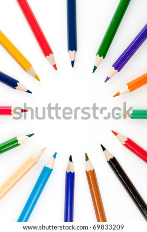 Circle from color pencils. It is isolated on a white background - stock photo