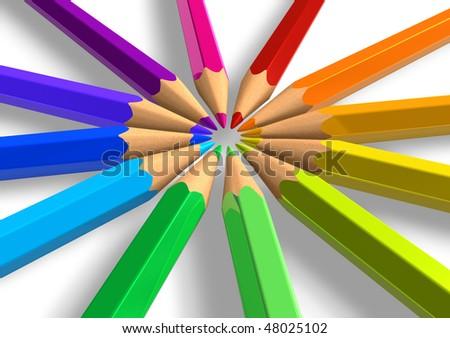 Circle from rainbow pencils - stock photo