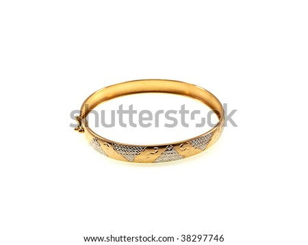 Circle from yellow gold isolated on a white background - stock photo