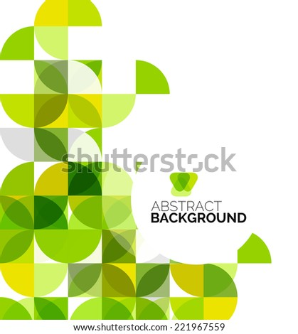 Circle geometric abstract background, colorful business or technology design for web on white with sample text, green colors - stock photo