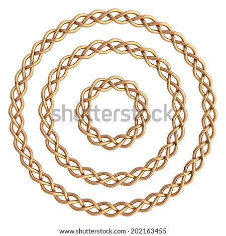 Circle golden frame isolated on white. - stock photo