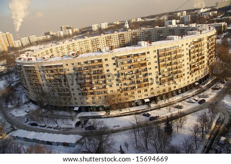 Circle house in Moscow - stock photo
