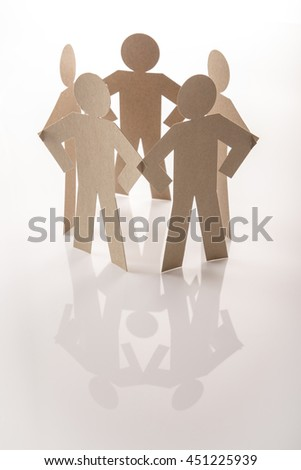 circle joining of six paper figure in hand down posture on white background