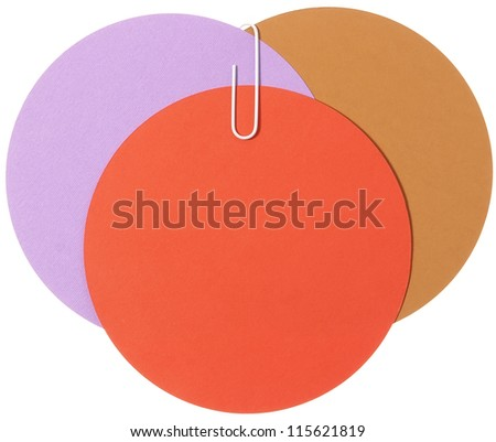 Circle labels connected with staple - stock photo