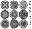 Circle lace ornament, round ornamental geometric doily pattern, black and white collection, raster version - stock photo