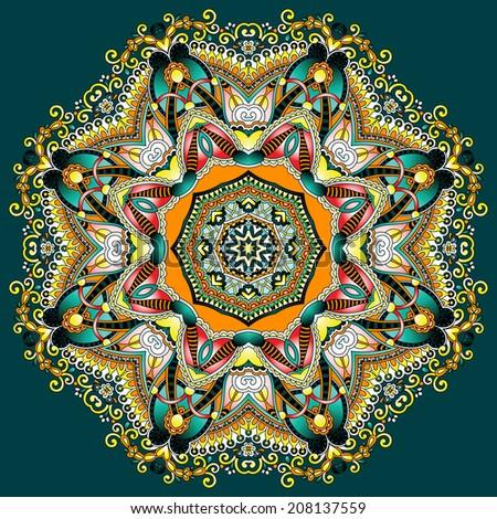 Circle lace ornament, round ornamental geometric doily pattern, raster version - stock photo