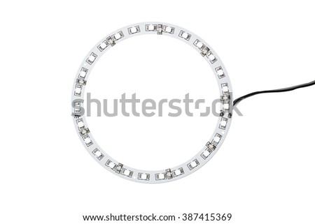 circle led light bulb over white background - stock photo