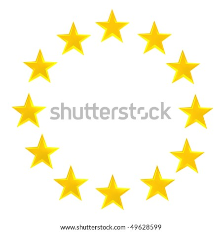 Circle made of dozen golden stars on white background