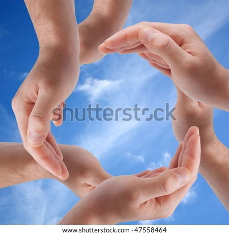 Circle made of hands - stock photo