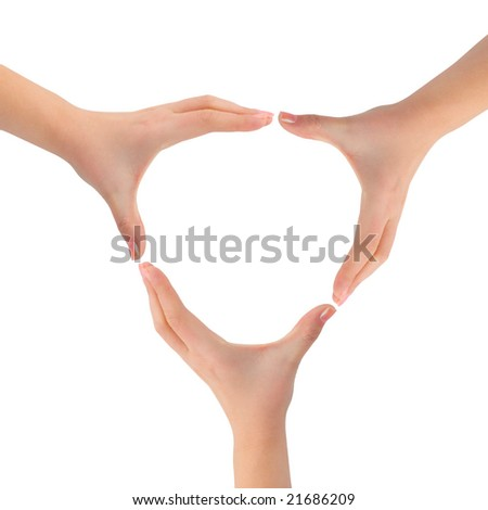 Circle made of woman hands isolated on white background - stock photo