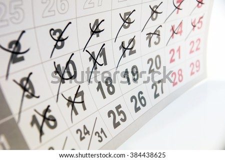 Circle marked on a calendar