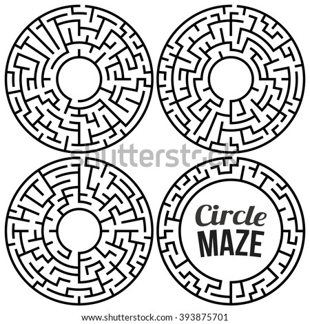 Circle Maze Set. Labyrinth with Entry and Exit. Find the Way Out Concept. Transportation. Logistics Abstract Background Concept. Transportation and Logistics Concept. Illustration. - stock photo