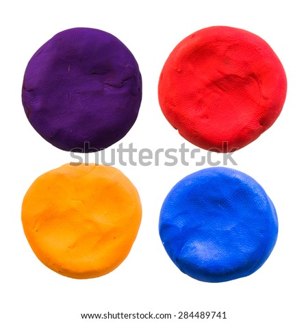 circle,modelling clay of different colors - stock photo