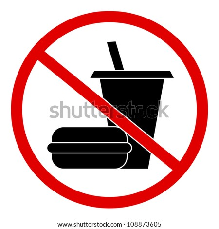 Circle No Food and Drink Sign  Isolate on White Background - stock photo