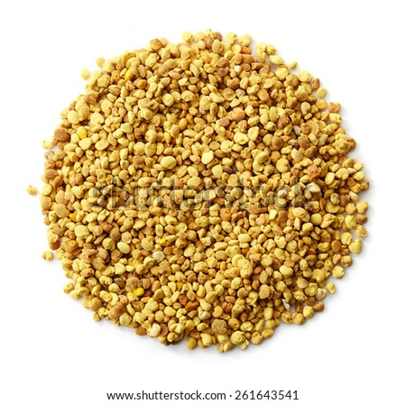 Circle of bee pollen isolated on white background