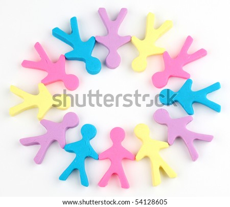Circle of color people made from playdough - stock photo