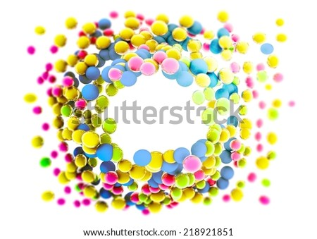 Circle of colored balls. 3D rendering. - stock photo