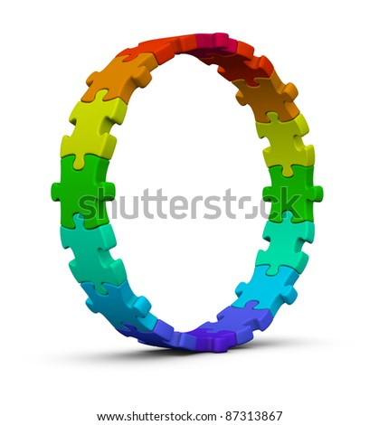 circle of colorful jigsaw puzzles on white background - stock photo