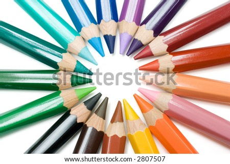 Circle of Crayons - stock photo