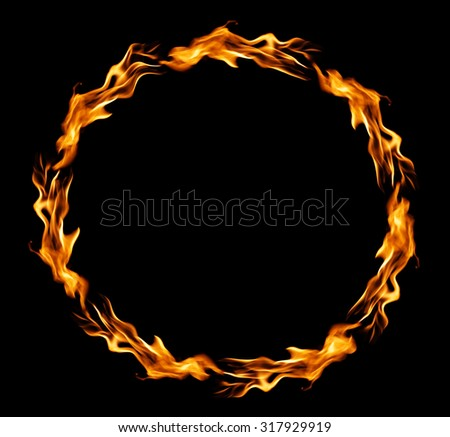 Circle of fire over black background