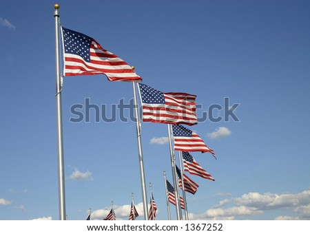 Circle of flags waving in the wind - stock photo