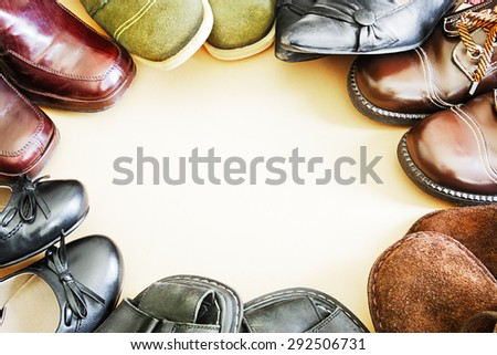 Circle of footwear - stock photo